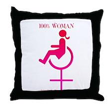 Disabled 100% Woman Throw Pillow