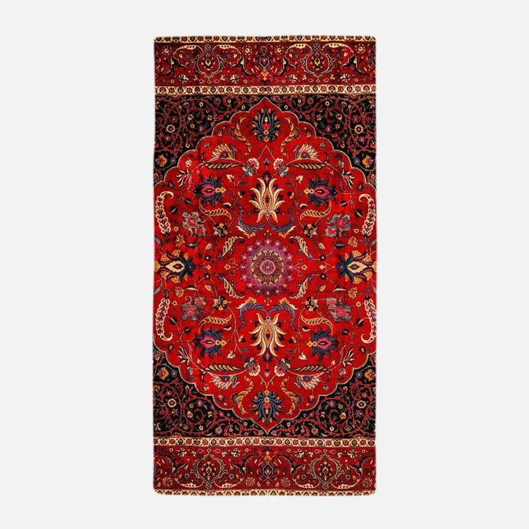 Persian Mashad Rug Beach Towel