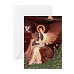 Seated Angel & Basset Greeting Cards (Pk of 20)