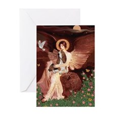 Seated Angel & Basset Greeting Card