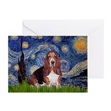 Starry / Basset Hound Greeting Card