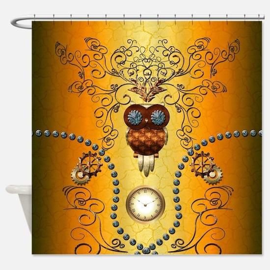 Steampunk , cute owl Shower Curtain