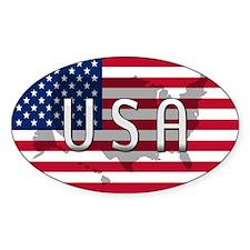 USA Flag Extra Oval Decal