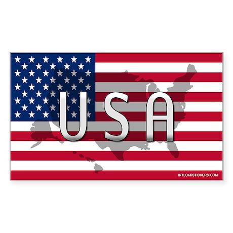 USA Flag Extra Rectangle Sticker