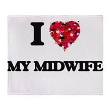 I Love My Midwife Throw Blanket