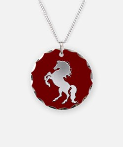 Silver Stallion on Dark Red Necklace Circle Charm