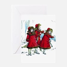 VICTORIAN ICE SKATERS Greeting Card