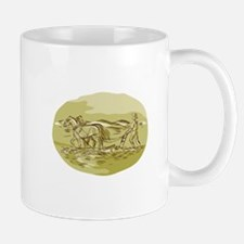 Farmer and Horses Plowing Field Oval Etching Mugs