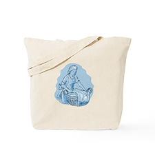 Laundry Maid Basket Vintage Etching Tote Bag
