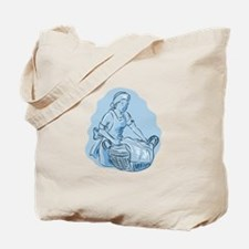 Laundry Maid Basket Vintage Etching Tote Bag