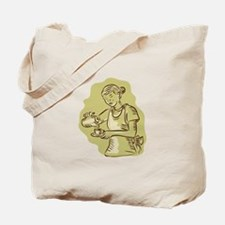 Waitress Pouring Tea Cup Vintage Etching Tote Bag