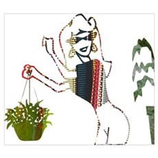 The Lady and Her Plants Framed Print