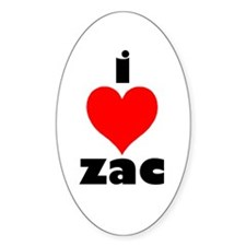 I Love Zac Oval Decal