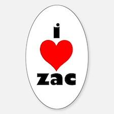 I Love Zac Oval Decal