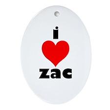 I Love Zac Oval Ornament