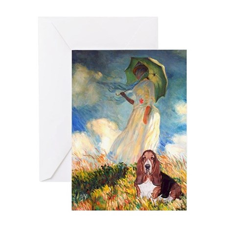 Umbrella & Basset Greeting Card