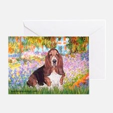 Basset in the Garden Greeting Card