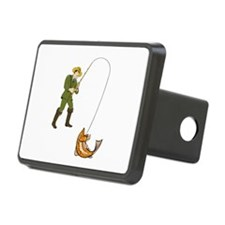 Fly Fisherman Catching Trout Fish Cartoon Hitch Co