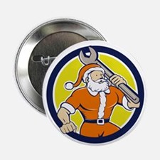 "Santa Claus Mechanic Spanner Circle Cartoon 2.25"""