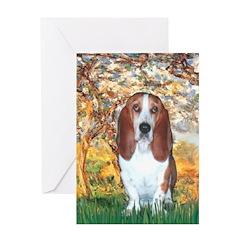 Monet's Spring & Basset Greeting Card