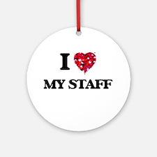 I love My Staff Ornament (Round)