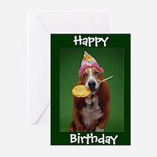 Basset Hound Birthday Lollipop Greeting Cards