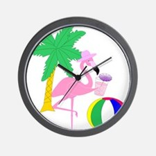 Pink Flamingo Tourist Wall Clock