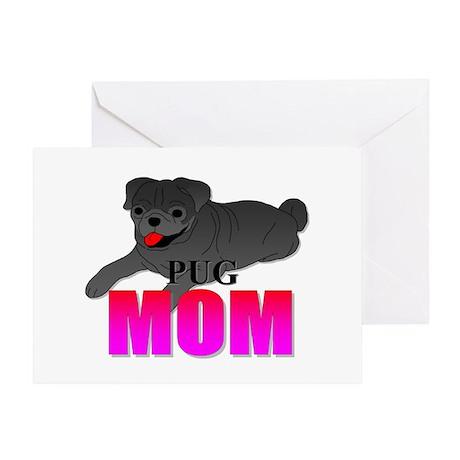 Black Pug Mom Greeting Card