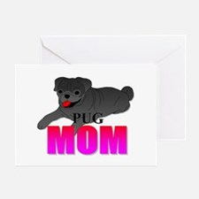 Black Pug Mom Greeting Card