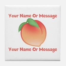 PERSONALIZED Peach Cute Tile Coaster