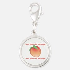 PERSONALIZED Peach Cute Silver Round Charm