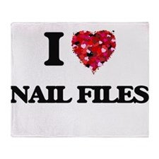 I Love Nail Files Throw Blanket