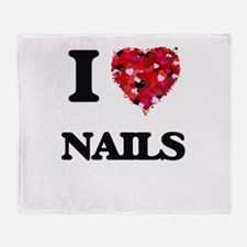 I Love Nails Throw Blanket