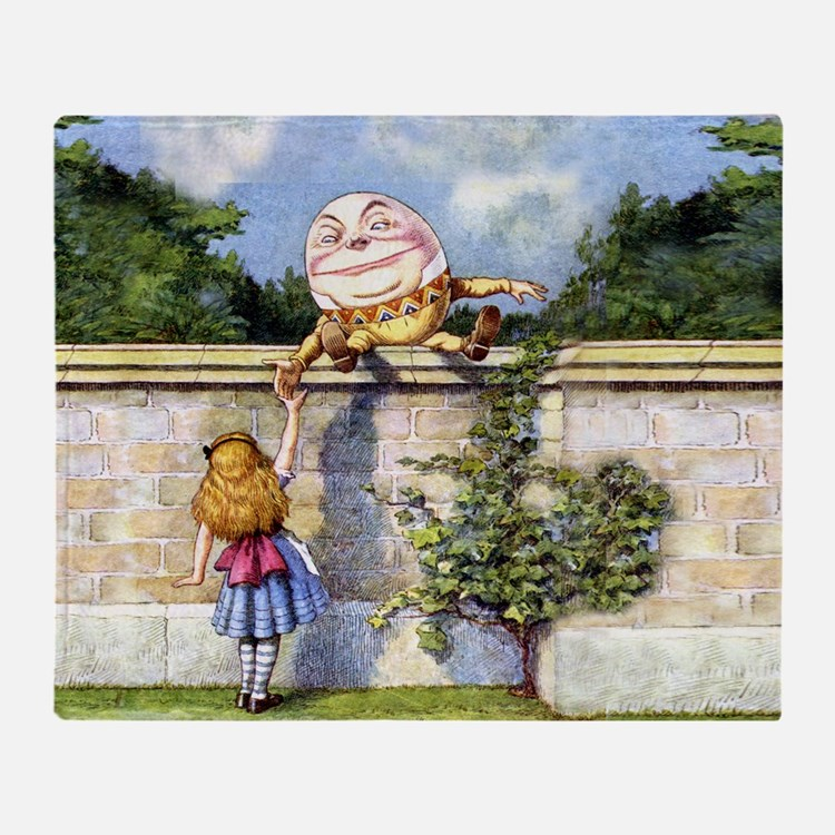 Humpty Dumpty and Alice in Wonderlan Throw Blanket