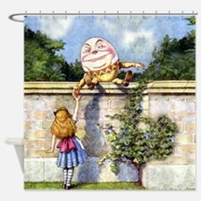 Humpty Dumpty and Alice in Wonderla Shower Curtain