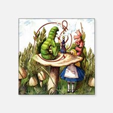 "Alice Meets the Caterpillar Square Sticker 3"" x 3"""