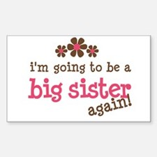 big sister pink brown flower Rectangle Decal