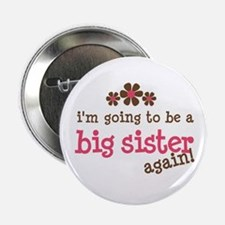 big sister pink brown flower Button