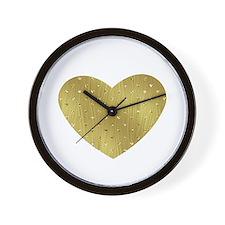 Gold Bling Heart Wall Clock