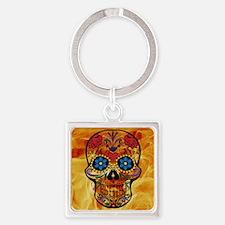 Cute Mexican sugar skulls Square Keychain