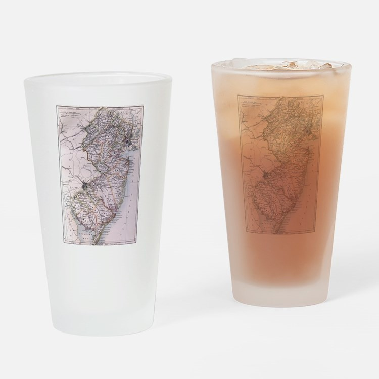 Vintage Map of New Jersey (1884) Drinking Glass