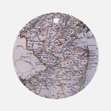 Vintage Map of New Jersey (1884) Ornament (Round)