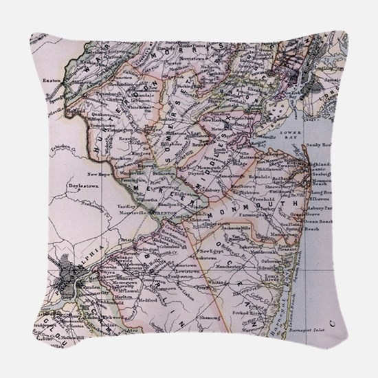 Vintage Map of New Jersey (188 Woven Throw Pillow