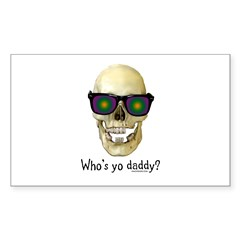 Who's Yo Daddy Skull Rectangle Decal