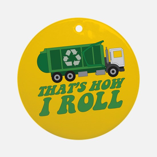 Recycling Truck Ornament (Round)