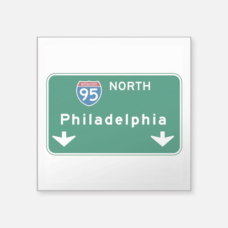 "Cute Philadelphia Square Sticker 3"" x 3"""