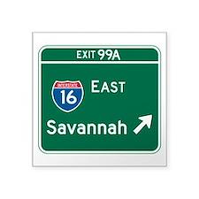 "Savannah, GA Highway Sign Square Sticker 3"" x 3"""