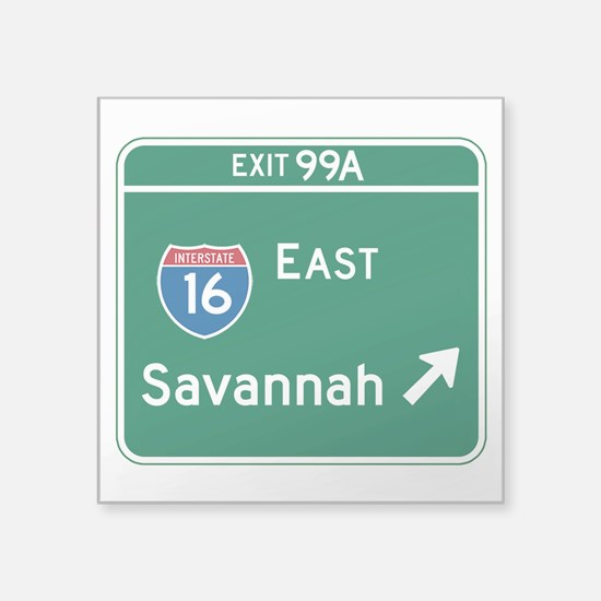 "Savannah, GA Highway Sign Square Sticker 3"" x 3"""