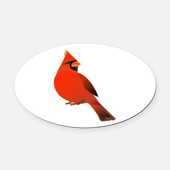 Red Cardinal Oval Car Magnet