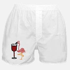 Pink Flamingo Drinking Wine Boxer Shorts